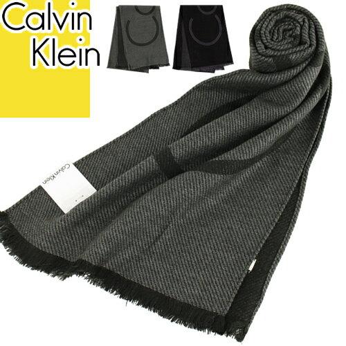 カルバンクライン Calvin Klein マフラー ウール メンズ レディース ブランド ブラック 黒 グレー ビジネス カジュアル 柄 プレゼント [メール便発送]