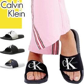 カルバンクライン Calvin Klein サンダル レディース シャワーサンダル スポーツサンダル ぺたんこ 歩きやすい 黒 ブラック おしゃれ ブランド