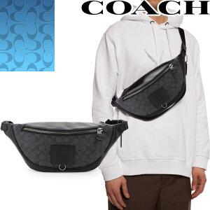 コーチ COACH バッグ ボディバッグ ウエストポーチ ウエストバッグ ベルトバッグ ショルダーバッグ メンズ シグネチャー ブランド かっこいい 革 斜めがけ かっこいい 小さめ 黒 ブラック Rivin
