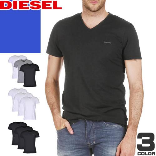 ディーゼル DIESEL 3枚セット Tシャツ 半袖 Vネック メンズ ブランド 無地 インナー ワンポイント 黒 白 ブラック ホワイト プレゼント ギフト Essentials SPDM/AALW [メール便発送]