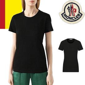 モンクレール MONCLER Tシャツ レディース 2021年春夏新作 ブランド カットソー クルーネック ロゴ カジュアル 大きいサイズ 黒 ブラック 8C73200 V8058 [ゆうパケ発送]