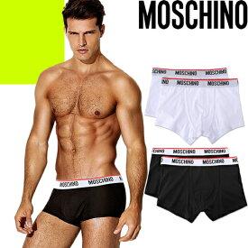 モスキーノ MOSCHINO ボクサーパンツ 2枚セット メンズ ブランド ローライズ 大きいサイズ 下着 パンツ 白 黒 ホワイト ブラック 誕生日プレゼント ギフト [メール便発送]