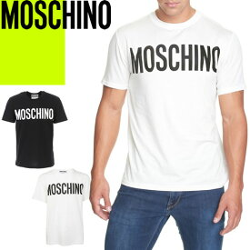モスキーノ MOSCHINO Tシャツ メンズ 半袖 2021年春夏新作 ロゴT クルーネック 丸首 コットン ブランド 大きいサイズ おしゃれ 白 黒 ホワイト ブラック A07055240 [ゆうパケ発送]