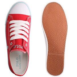 [最終SALE5,940円→2,980円]ポロラルフローレンPoloRalphLaurenスニーカーレディーススリッポン靴赤レッドキャンバスおしゃれ歩きやすいCarsonLace