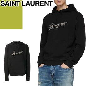 サンローラン パリ SAINT LAURENT PARIS パーカー スウェット トレーナー メンズ スター フーディー ブランド 大きいサイズ 薄手 プルオーバー プリント 黒 ブラック STAR HOODIE 575525 YBJN2 [S]