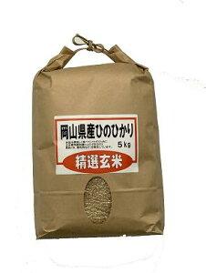 玄米 岡山県産ひのひかり 精選玄米 5kg【ヒノヒカリ 岡山 送料無料】