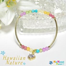 Hawaiian Nature(ハワイアンネイチャー)シリーズDOUBLE RAINBOW(ダブルレインボー)パワーストーン ブレスレット ハワイ8月誕生石 ペリドットレディースブレスレットメール便のみ送料無料