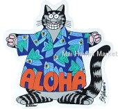 【ハワイ雑貨】【ハワイアン雑貨】【限定】クレイジーシャツクリバンキャット【ステッカー】