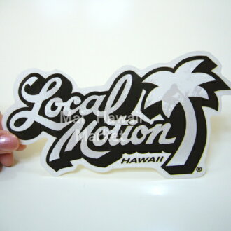 ハワイ ステッカー Local Motion(ローカルモーション)(白)(小) サーフボード スノーボードステッカー