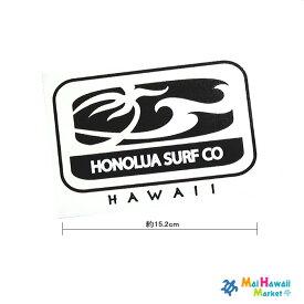 ハワイ ステッカー カッティングタイプHONOLUA SURF CO.(ホノルアサーフ)黒(小)【ハワイアン雑貨】【ハワイ雑貨】【メール便対応可】サーフボード スノーボードステッカー