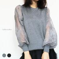 【予約販売】11月30日販売開始シースルーぽわん袖が可愛いニットきれい上品メール便可tn_001