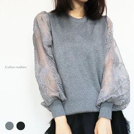 【お取り寄せ】シアーなぽわん袖が可愛いニット大人可愛い 上品なニット トップスtn_001