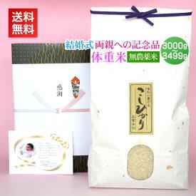 <送料無料>結婚式でのご両親へのプレゼントに新潟コシヒカリの体重米を。無料メッセージカード付!【結婚式 両親への記念品・無農薬米 3000g〜3499g】
