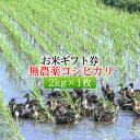 【お米ギフト券】無農薬米コシヒカリ 2kg×1枚[送料無料]