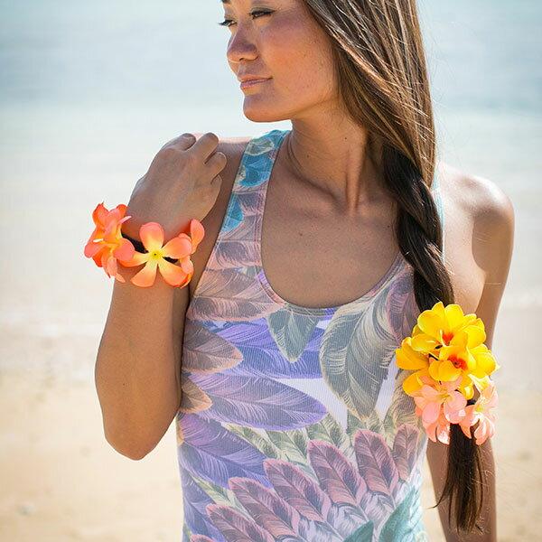 ハワイアン雑貨 プルメリア ブレスレット ハワイ ハワイアン アロハ ヘアゴム 髪飾り フラ