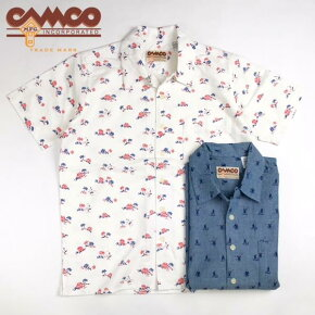 送料無料CAMCO【カムコ】半袖プリントオープンカラーシャツメンズ(男性用)【smtb-m】