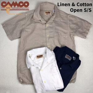 送料無料CAMCO【カムコ】2L/COPENS/S半袖リネンコットンオープンカラーシャツメンズ(男性用)【smtb-m】