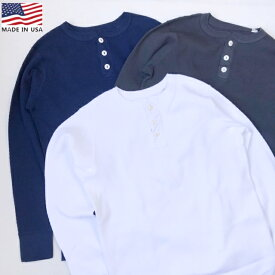 アメリカ製 送料無料 THERMAL HENLY L/S ヘビーコットン サーマル ヘンリーネック 長袖 Tシャツ メンズ(男性用)【smtb-m】