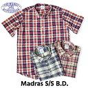 送料無料 BAGGY【バギー】2 SN MADRAS B.D S/S 半袖 マドラスチェック シャツ 半袖シャツ メンズ(男性用) 【smtb-m】