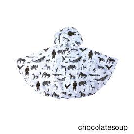 【再入荷】【chocolatesoup チョコレートスープ】GEOMETRY RAINPONCHO ANIMAL 90cm チョコレートスープ ジオメトリー レインポンチョ キッズ レインポンチョ キッズ 男の子 女の子 おしゃれ 子供用 レイングッズ 巾着