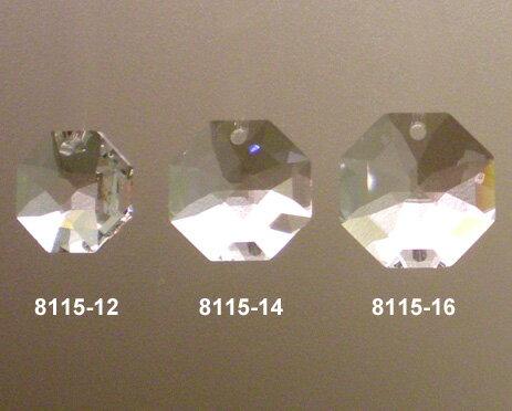 スワロフスキー#8115-14オクタゴン型一ツ穴タイプクリスタル14mmx14mm 5コセット