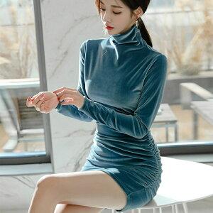 OP265ベロアワンピース無地シンプルベルベットベロア長袖ワンピ韓流セクシータイトワンピースブルーミニワンピニット水色青二次会ドレスパーティー結婚式