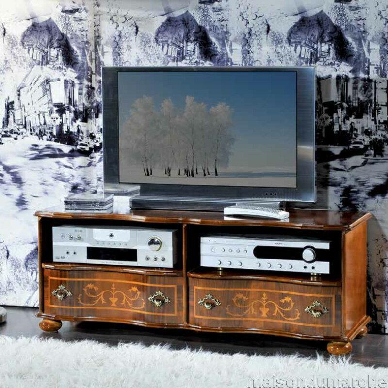 [送料無料] テレビ台 幅110cm / イタリア アンティーク スタイル クラシック 天然木 猫足 タロッコ