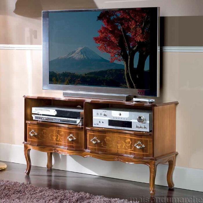 [送料無料] テレビ台 幅111cm / イタリア アンティーク スタイル クラシック 天然木 猫足 タロッコ
