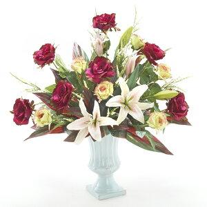 ロゼットローズアレンジ 幅75cm / 花 造花 フラワー フラワーアレンジメント きれい