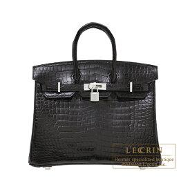 エルメス バーキンダイヤモンド25 ブラック クロコダイル ポロサス ホワイトゴールド金具 HERMES Birkin Diamond bag 25 Black Porosus crocodile skin White gold hardware
