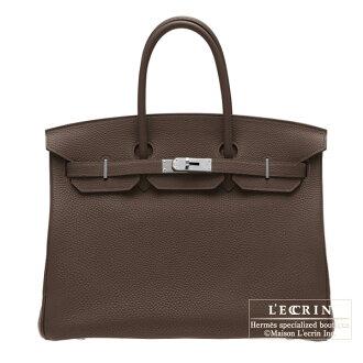 Hermes Birkin bag 35 Chocolat Togo leather Silver hardware