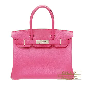 Hermes Personal Birkin bag 30 Rose shocking Chevre myzore goatskin Silver hardware
