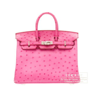 erumesubakin 25 fuyushapinkuosutoritchishiruba金屬零件HERMES Birkin bag 25 Fuschia pink Ostrich leather Silver hardware