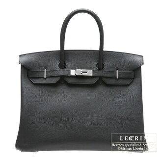 erumesubakin 35 burakkuvasshutorekkingushiruba金属零件HERMES Birkin bag 35 Black Vache trekking leather Silver hardware