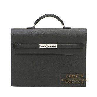 Hermes Kelly depeche 34 briefcase Black Epsom leather Silver hardware