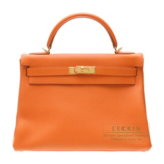 愛馬仕凱利32/裏面的縫orenjitogogorudo金屬零件HERMES Kelly bag 32 Retourne Orange Togo leather Gold hardware