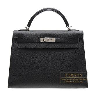 Hermes Kelly bag 32 Sellier Black Epsom leather Silver hardware