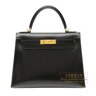 愛馬仕凱利28/外面縫黑色博克圍巾黄金金屬零件HERMES Kelly bag 28 Sellier Black Box calf leather Gold hardware