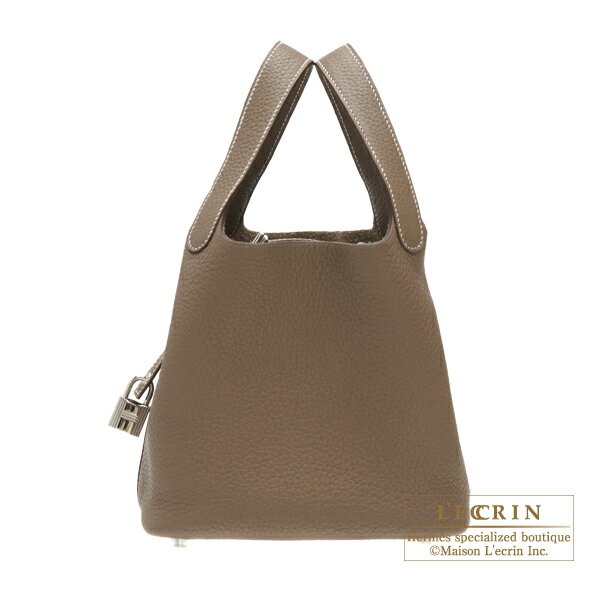 エルメス ピコタンロックPM エトゥープ トリヨンクレマンス シルバー金具 HERMES Picotin Lock bag PM Etoupe grey Clemence leather Silver hardware