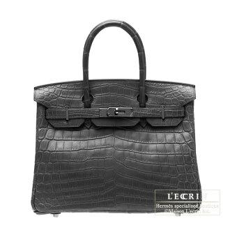 헤르메스 소 블랙 버 킨 30 블랙 크 로커 다 일 악어 매트 블랙 쇠 Hermes So-black Birkin bag 30 Black Matt alligator crocodile skin Black hardware
