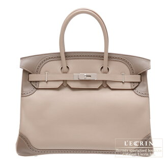 erumesubakingirizu 35阿爾吉爾/etupusuifutoshiruba金屬零件HERMES Birkin Ghillies bag 35 Argile/Etoupe grey Swift leather Silver hardware