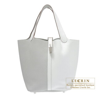 df5860357af3 Hermes Picotin Lock bag MM Pearl grey White Clemence leather Silver hardware