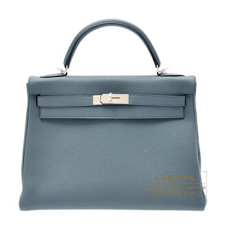 愛馬仕凱利32/裏面的縫buruorajutogoshiruba金屬零件HERMES Kelly bag 32 Retourne Blue orage Togo leather Silver hardware