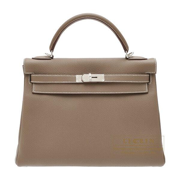 エルメス ケリー32/内縫い エトゥープ トゴ シルバー金具 HERMES Kelly bag 32 Retourne Etoupe grey Togo leather Silver hardware