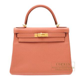 愛馬仕凱利28/裏面的縫rozutitoriyonkuremansugorudo金屬零件HERMES Kelly bag 28 Retourne Rose tea Clemence leather Gold hardware