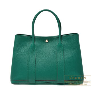 愛馬仕遊園會PM marakaitonegondashiruba金屬零件HERMES Garden Party bag PM Malachite Negonda leather Silver hardware