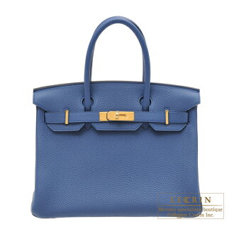 erumesubakin 30 buruagattotoriyonkuremansugorudo金屬零件HERMES Birkin bag 30 Blue agate Clemence leather Gold hardware