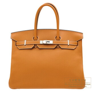 erumesubakin 35 tofitoriyonkuremansushiruba金屬零件HERMES Birkin bag 35 Toffee Clemence leather Silver hardware