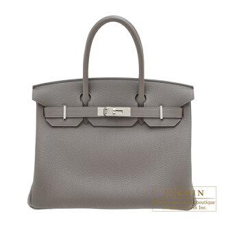 Hermes Birkin bag 30 Etain Togo leather Silver hardware
