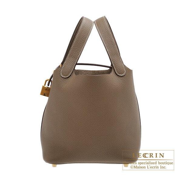 エルメス ピコタンロックPM エトゥープ トリヨンクレマンス ゴールド金具 HERMES Picotin Lock bag PM Etoupe grey Clemence leather Gold hardware